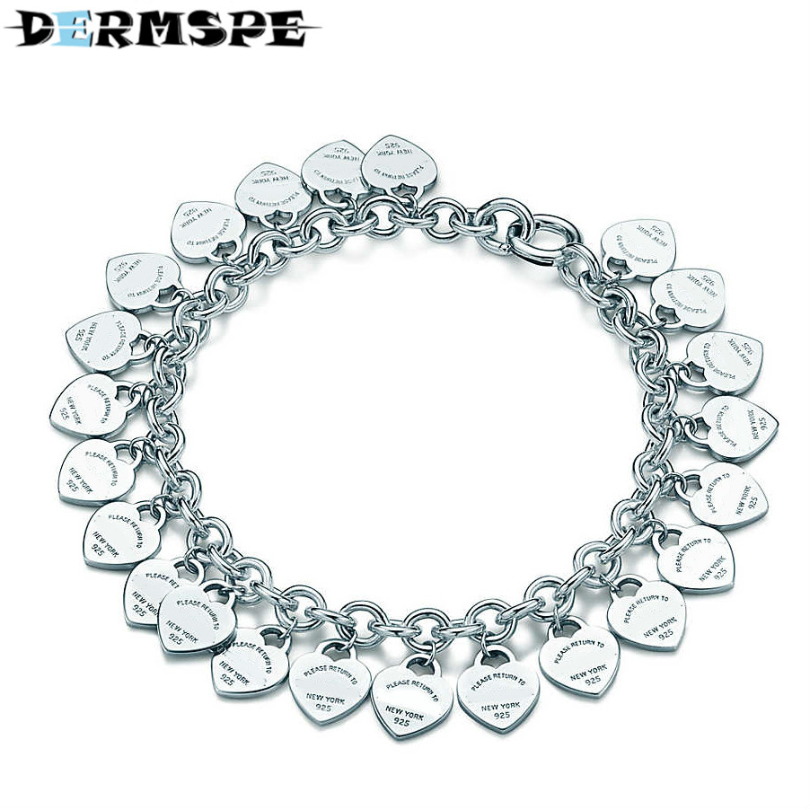 DERMSPE TIFF 100% 925 Sterling Silver Wedding Party Tiff Bracelets With Cubic Zirconia Fit Women Heart-Shaped bangle