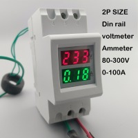 2P 36mm Din Rail Dual LED Display Voltage And Current Meter Voltmeter Ammeter Range AC 80