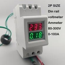 2P 36mm Din rail Dual LED display Voltage and current meter voltmeter ammeter range AC 80-300V 200-450V 0-100A