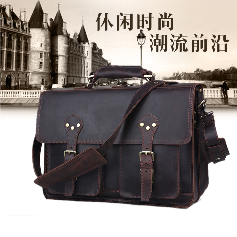 Men Crazy Horse Genuine Leather Briefcase Handbags Leather 17 quot Laptop Bag Big Shoulder Crossbody Bags for Man Messenger Bags in Briefcases from Luggage amp Bags
