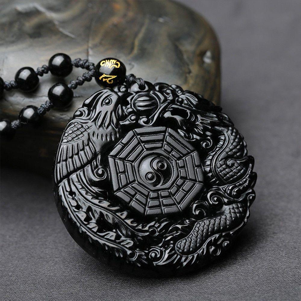 Naturel Noir Obsidienne chinois Taiji YIN YANG BAGUA Pendentif Perles Chaîne Collier