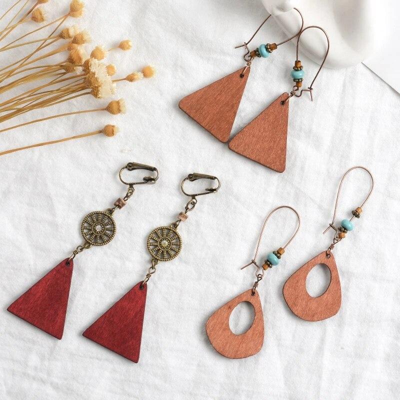 Handmade wooden earrings geometric turquoise for women/'s