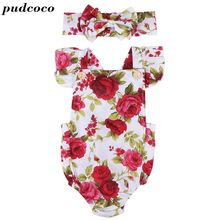 2PCS Rompers+Headband Baby Boys Girls Clothing Set Cute Cartoon Floral Toddler Jumpsuit Infant Cotton Sleeveless Kids Clothes