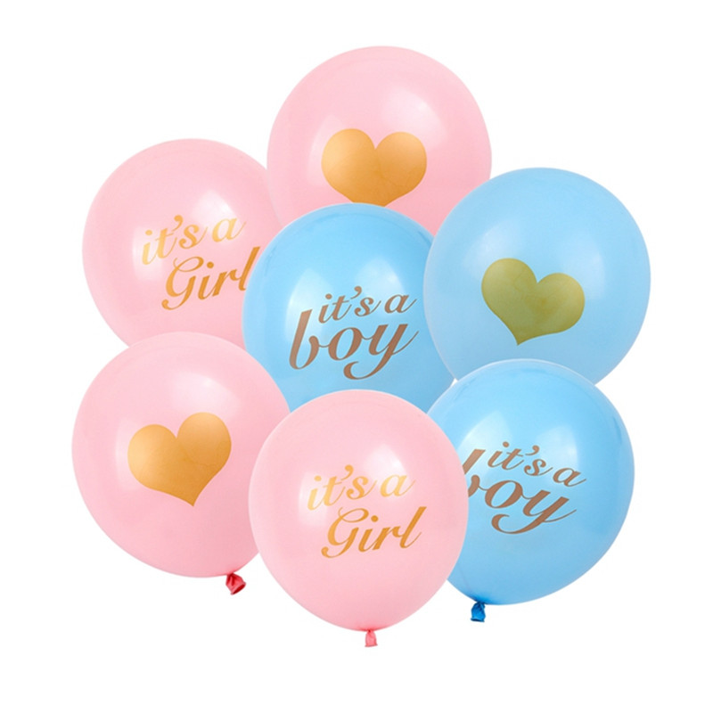 10pcs Heart Printed Baby Shower Latex Balloons Its A Boy Girl Pink Blue Ballons Baby Shower Birthday Party Gender Reveal Decor
