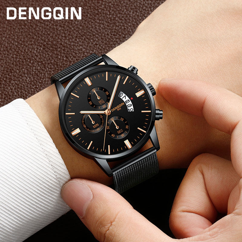 DENGQIN Quartz Watch Men Fashion Wrist Watches Stainless Steel Watch Men Gift Simple Casual Dress Watch 30M Waterproof fashion men s large creative quartz stainless steel dress watch