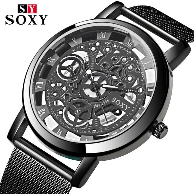 5c89c6b8028 SOXY Skeleton Watch Men Wrist Watch Mens Watches Top Brand Luxury Men s  Stainless Watch Male Clock relogio masculino 2018