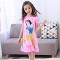 Menina home clothes 3-12y 2017 novo estilo do verão menina nightgowns vestido crianças pano meninas sleepwear crianças meninas princesa jovem