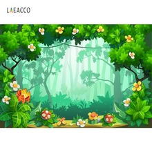 Laeacco Tropical Birthday Party Green Forest Flower Cartoon Pattern Photo Backdrop Photography Background Photocall Studio