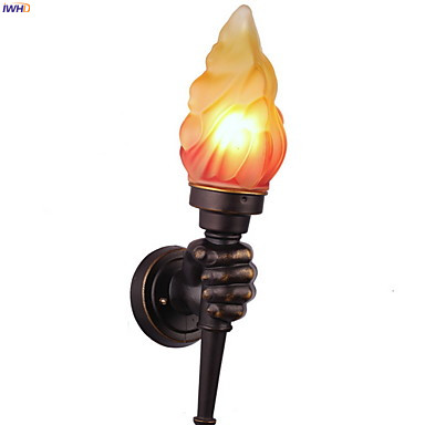 Image 5 - IWHD Europe Torch Vintage Wall Light Home Lighting Blacony Corridor LED Wall Lights Fixtures Sconce Luminaire Lampara Pared-in LED Indoor Wall Lamps from Lights & Lighting