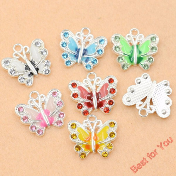 140pcs Mixed Silver Plated Enamel Crystal Butterfly Charms Pendants Jewelry Diy Jewelry Findings Craft 7styles