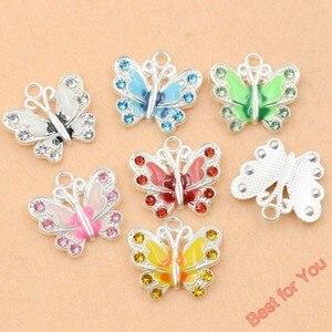 Image 1 - 7 pçs misturados banhado a prata esmalte cristal borboleta encantos pingentes jóias diy jóias descobertas artesanato 7 estilos