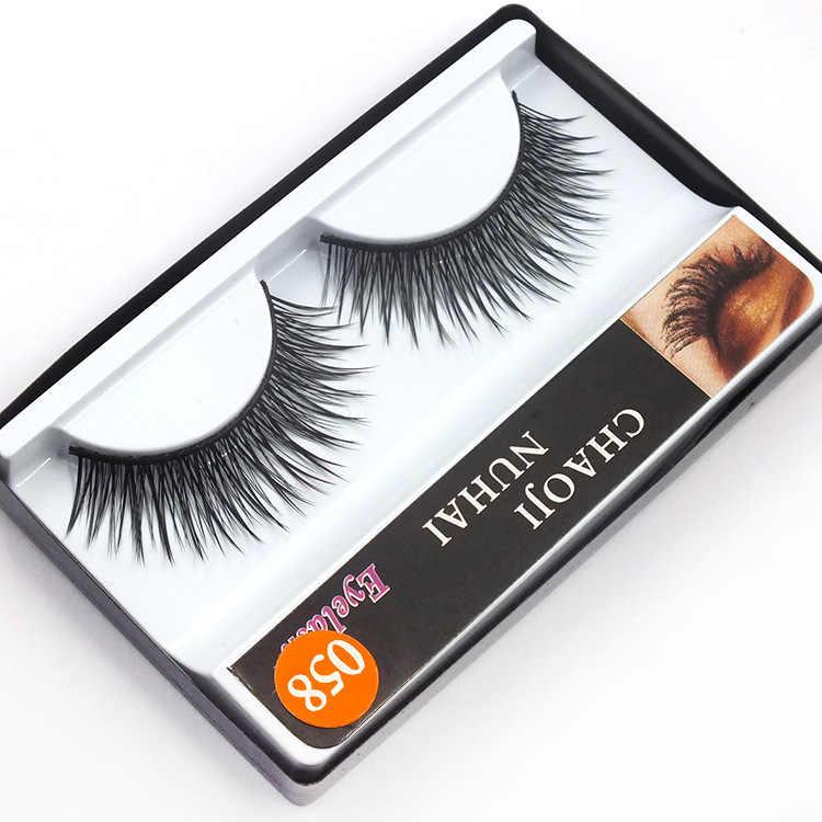 Yeni 1 Çift Doğal Çapraz Yanlış Eyelashes Kore NaturalNaked Makyaj Uzun Yanlış Kirpik El Yapımı Göz Lashes Makyaj Seti Hediye #058