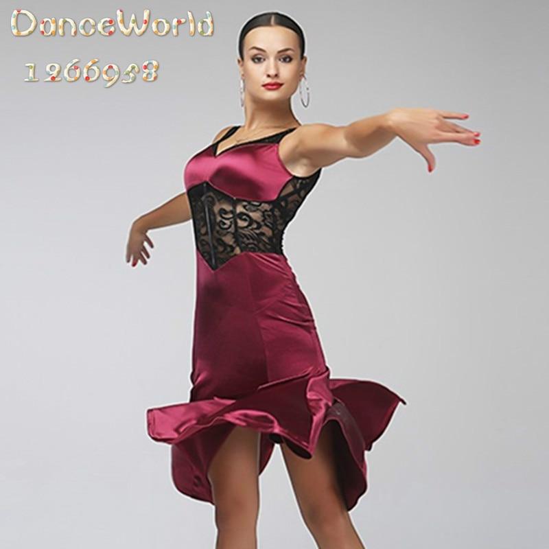 где купить wine Lace sexy latin dance salsa dress for latina dancing clothes women rumba samba по лучшей цене