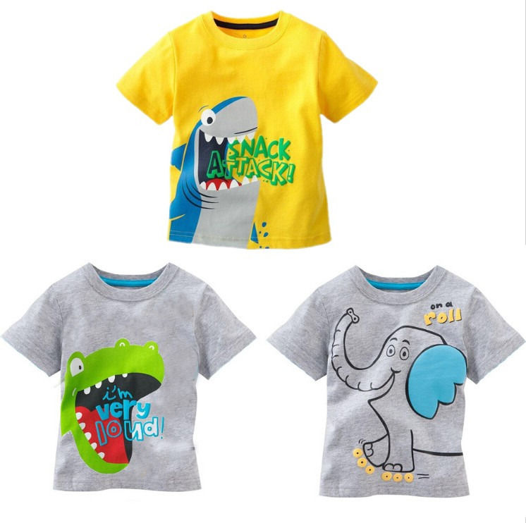 Hot Sell Cute Toddler Baby Kids Boys clothes Cartoon Tees short sleeves Tops T-shirt Age 1 to 6 Years
