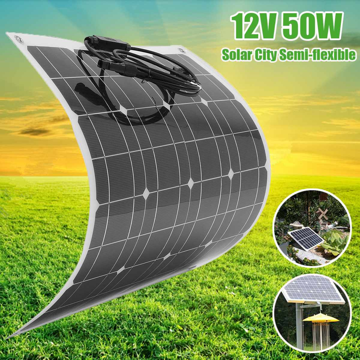 KINCO 60W/12V Semi-Flexible Solar Panel Monocrystalline Silicon Solar System Power Supply For Car Battery Charger 50w 12v semi flexible monocrystalline silicon solar panel solar battery power generater for battery rv car boat aircraft tourism
