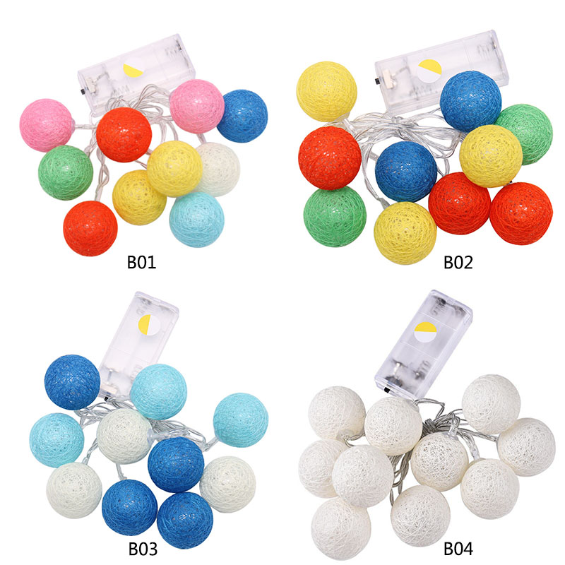 10 LED Cotton Christmas Ball Light String Dry Battery 1.2M Decorative String Lights for Banquet Home Xmas Trees Holliday Use P20