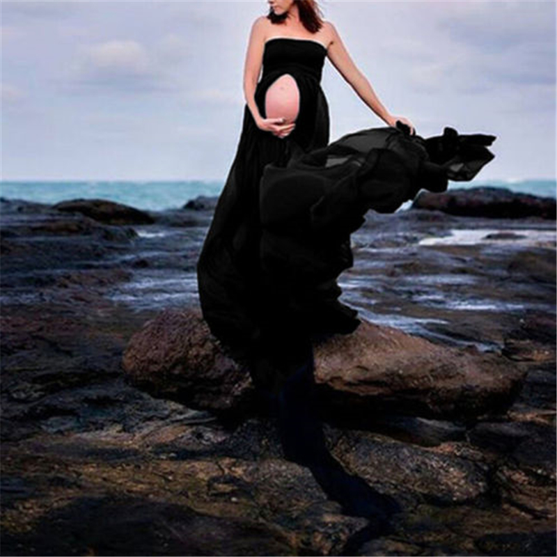 Maternity Dress For Photo Shooting Off Shoulder Maxi Dress Photography Props Short/Long Sleeve Stretch Vestidos Pregnant Dresses