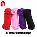 Davidsource 10 Meters Soft Cotton Bondage Rope Red Pink Purple Black Kinky Tied Fetish Restraint Gear Rope Adult Sex Toy