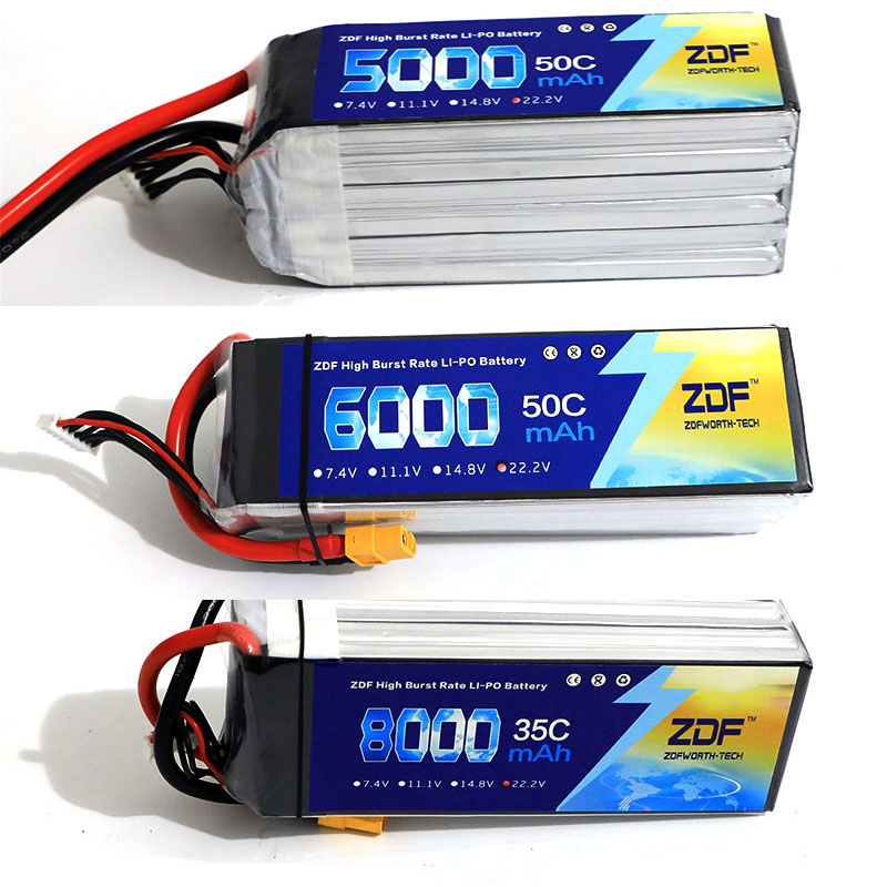 ZDF 22.2v 6S 5000mah 6000mah 8000mah 50C max 100C lipo battery for Trex-450 Fixed-wing Helicopter Quadcopter RC drone 450 rc helicopter screws linkage ball washers for trex 450 helicopter