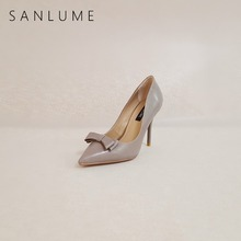 SANLUME Autumn Gray Heels Pumps Women Shoes Woman Extreme High Heels Butterfly-Knot Thin Spike Stiletto Ladies Sexy Party Shoes lakeshi women pumps suede shoes women heels summer shoes woman extreme high heels sexy pumps shoes ladies shoes