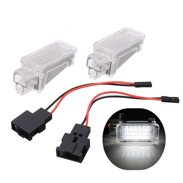 2x 12V Car LED Courtesy Door  Projector Light For Audi A3/A4/A6/VW/Skoda Foot Nest Lights Ghost Shadow Light Lamp 6500K White