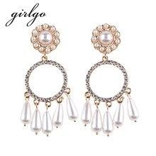 Girlgo Luxury Simulated Pearl Jingle Pendant Statement Earrings For Women Wedding Jewelry Trendy Charm Long Drop Dangle Earrings