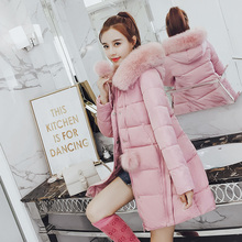 High quality elegant long coat woman winter fur hooded jackets slim female thick down cotton parka casual tops clothing pink red