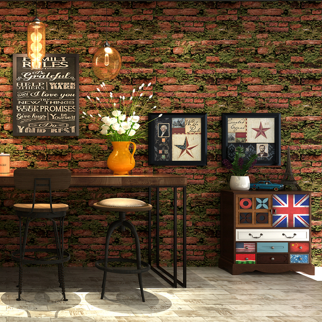 Personality Gr Brick Wallpaper Vintage Stone Retro Wall Paper Barber Salon Clothing Background Papel