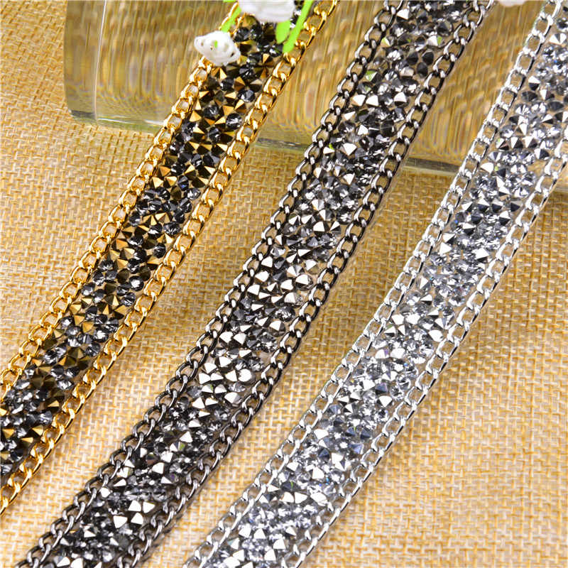 2 Yard  15mm Hotfix Crystal black diamond Rhinestone Chain Trim Wedding Crystal  Appliques Resin Beads 239a206b2722