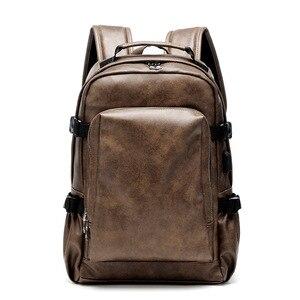 Image 2 - PU deri seyahat sırt çantası 14 inç dizüstü bilgisayar sırt çantası erkek büyük kapasiteli sırt çantası erkekler ve kadınlar için rahat çanta