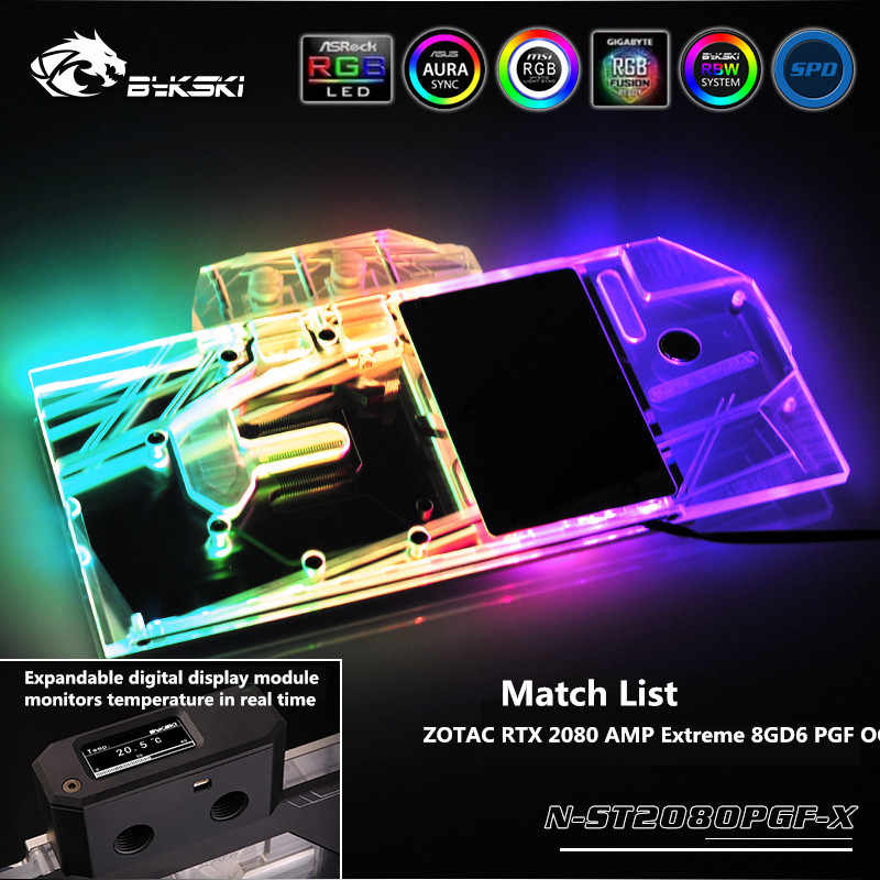 Bykski Full Cover GPU Water Block For ZOTAC RTX 2080 AMP Extreme 8GD6 PGF  OC Graphics Card RGB/RBW N-ST2080PGF-X