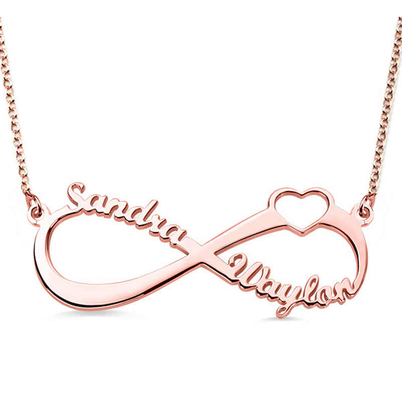 Gold Customized Tiny Two Name Personalized Infinity Heart Pendant Necklace Jewelry For Best Friend Gift Bridesmaid PN0008-5