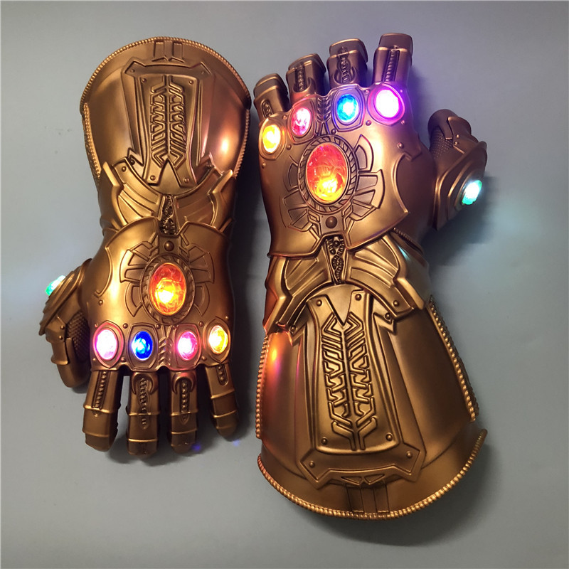 Marvel Avengers Endgame Superhero Thanos Infinity Gauntlet Cosplay Gloves Avengers LED Glove Kids Adult Snap Mittens Toy New(China)