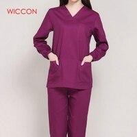 Long Sleeves Uniformes Hospital Women Medical Clothing Nursing Scrubs Clothes Set Dental Clinic Nurse Surgical Suit Pants Tops