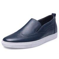 GN75865 Casual Lange Mannen Schoenen Verhoog Lift 6 cm/2.36 Inches Platte Loafers Schoenen Lente/Herfst Zwart/bruin/Blauw