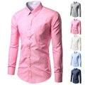 Alta Calidad Nuevo Diseño Sleved TUNEVUSE Marca Vestido de Los Hombres Camisa de Color Sólido Mens Camisas de Moda Masculina Del Todo-Fósforo Camisas Largas