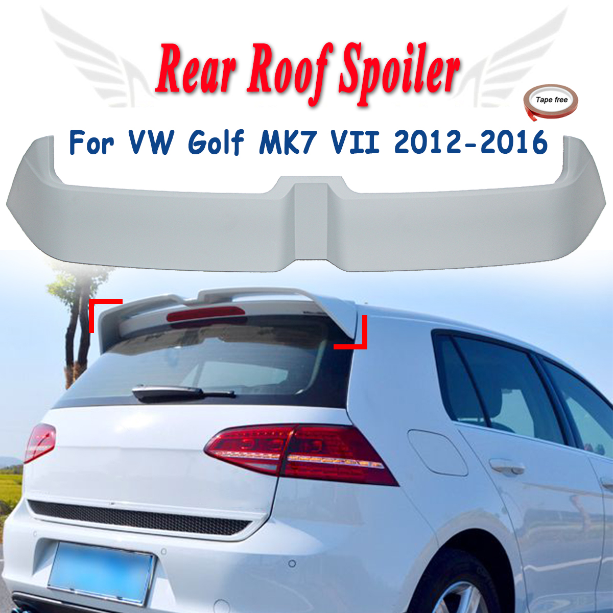Unapinted Rear Trunk Roof Spoiler Boot Lip Wing Fits For VW Golf MK7 VII GTI GTD 2012-2016 Window Tail Wings FRP
