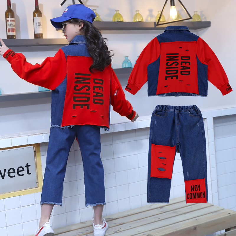 2019 New Autumn Kids Clothing Set Girls Denim Jacket Kids Casual Sport Suit Girls Clothes Set Children Clothing Set For 12 Years