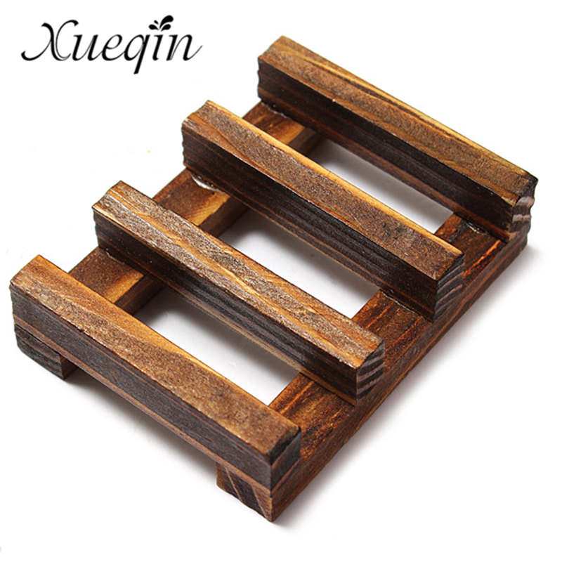 Xueqin Natural Handmade Wooden Bathroom Wood Soap Dish Box Container Kitchen Tub Sponge Storage Cup Rack Soap Holder