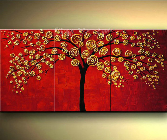 3 piece abstract wall art cheap modern red hand made tree flower ...