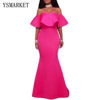 2017 Retro Party Mermaid Dress Summer Sexy Light Pink Solid Ruffle Strapless Off Shoulder Maxi Dresses