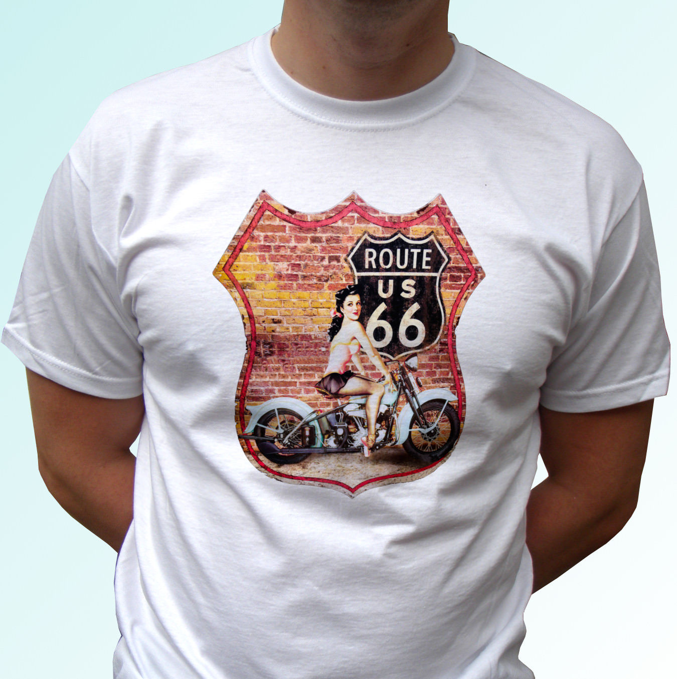 <font><b>Route</b></font> <font><b>66</b></font> white <font><b>t</b></font> <font><b>shirt</b></font> top USA biker design 2 - mens womens kids & baby image