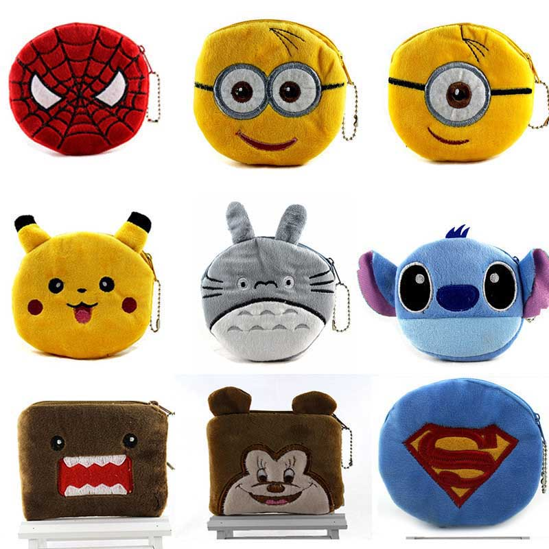 Hot On Sale Kawaii Cartoon Spiderman/Unicorn Children Plush Coin Purse Zip Change Purse Wallet Kids Girl Women For Gift