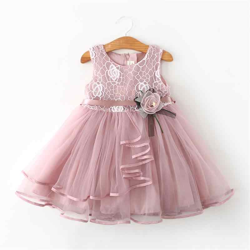 4ca0adc80 Newborn Baby Flower Dress Bebes Party Clothing For 2 6Y Christening Gown  Toddler Petals Decoration Events