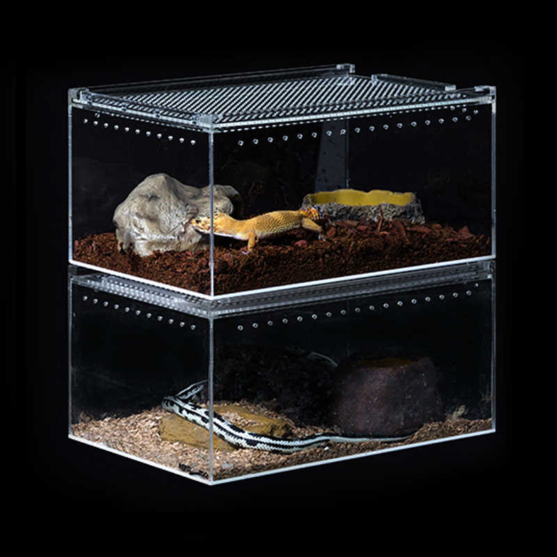 Acrylic Feeding Box Terrarium Reptiles Climbing Breeding Box Pet Lizard Frog Snake Guardian Snail Turtle Aquarium Breeding Cage