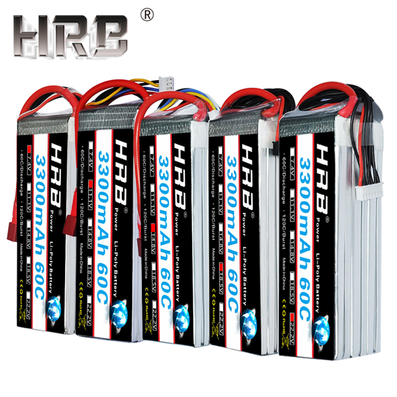 HRB 2S 7.4V 11.1V <font><b>Lipo</b></font> Battery <font><b>3300mAh</b></font> T Deans 60C XT60 3S 1S 3.7V RC Quadcopter Airplane Cars Parts 14.8V 18.5V 22.2V <font><b>4S</b></font> 5S 6S image