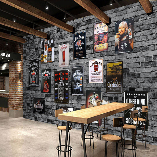 Bar Wallpaper: Aliexpress.com : Buy Large European American Retro Brick
