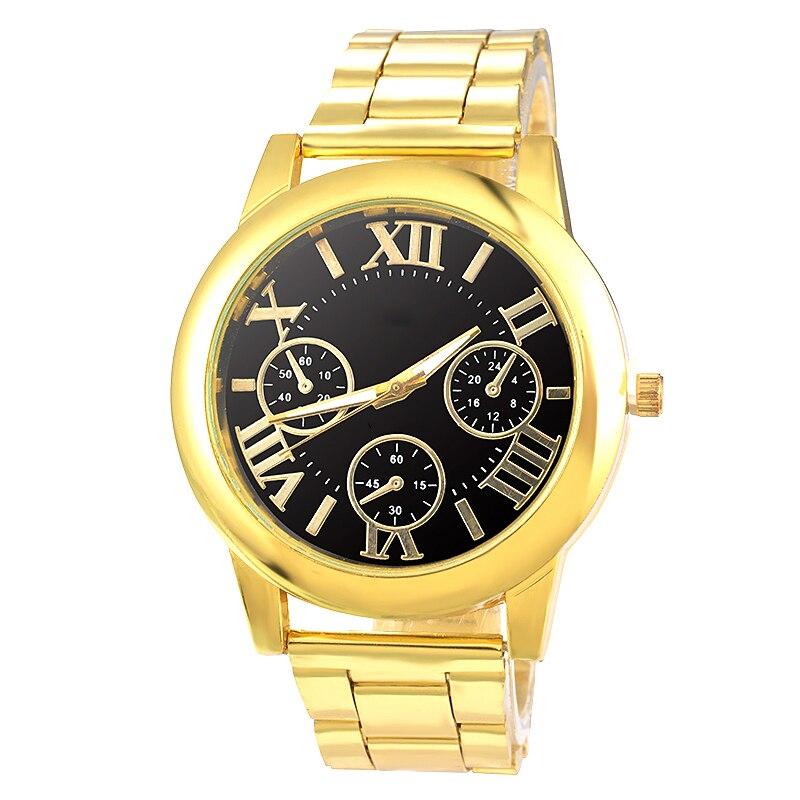 Doreen Box Steel Women Quartz Wrist Watches Gold Color Roman Numerals Three-eyes Battery Included 22cm(8 5/8) long, 1 Piece