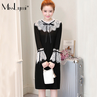 MissLymi L 5XL Plus Size Women Lace Dress 217 Winter Fleece Lace Collar Bow Long Sleeve