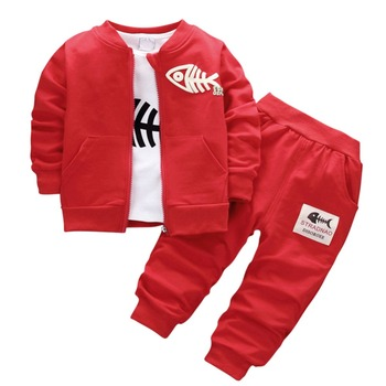 7126e78b0 KISBINI ropa para niños conjunto de chaqueta para niños + Camiseta de manga  larga + Unid Pantalones deportivos 3 piezas Fish Bone niño trajes 1-4 años